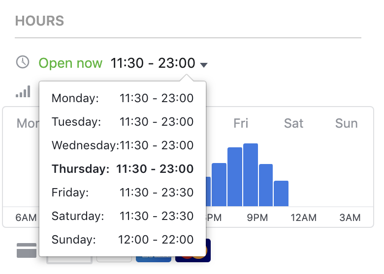 Opening times listed on a Facebook business page.