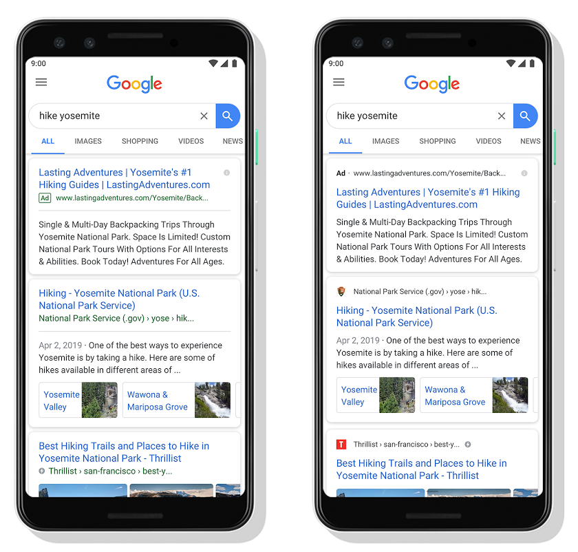 Google mobile search results showing favicons.