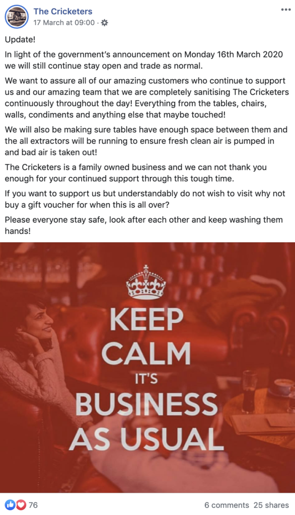 Facebook post by a business demonstrating how they're remaining hygienic during COVID-19