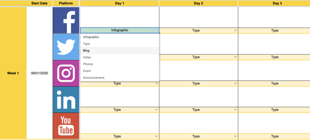Screenshot of Social Media Content Plan created by JTHN Ltd.